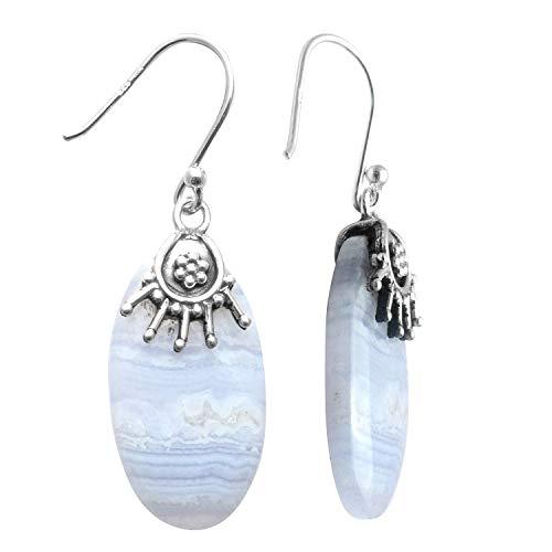 Silver Palace Pendientes colgantes hechos a mano de ágata de encaje azul natural de plata de ley 925 para mujeres y niñas