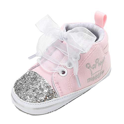 Zapatos Bebe Niña Primeros Pasos Fossen Zapatillas del Antideslizante Primeros Pasos Lentejuelas Botas para Recien Nacido Niñas Niños 0-18 Meses