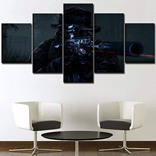 OfinaBiz Sniper Battlefield Prints On Canvas 5 Pictures Framed Modern Wall Painting Living Room Bedroom Home Decoration Print Painting Total150 Cm X 80 Cm (Ofi927)