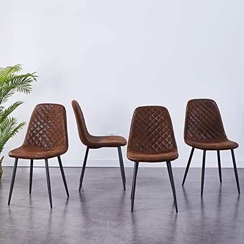 JaHECOME Lot de 4 chaises de salle à manger style scandinave vintage en daim synthétique avec dossier et pieds en acier (marron, 4)