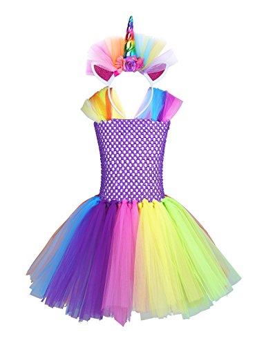 YiZYiF Disfraz de Infantil Unicornio Vestido Fiesta Niñas con Diadema Cosplay Hada...