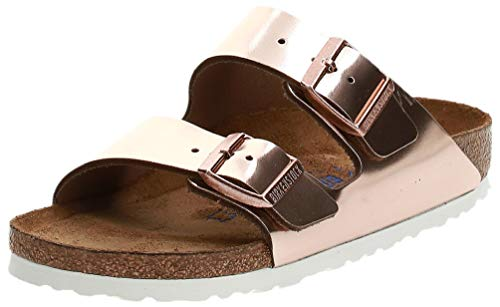 BIRKENSTOCK Damen Arizona Leder Softfootbed Pantoletten, Braun (Metallic Copper), 39 EU