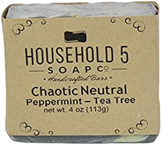 Chaotic Neutral Make-Up Removing Bar Soap for Women Peppermint & Tea Tree Scented Handmade In the USA by Household5