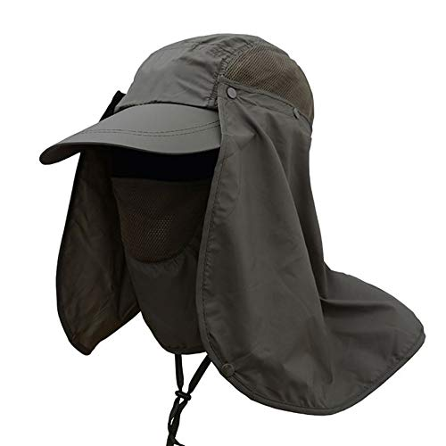 Fishing Hats,Sun Cap UPF 50+ Protection Removable Neck/Face Flap Cover Caps,Women & Men Outdoor Sun Hat for Gardening,Mountaineering,Camping,Boating,Outdoor Sports,Yard Working,Farming (Army Green)