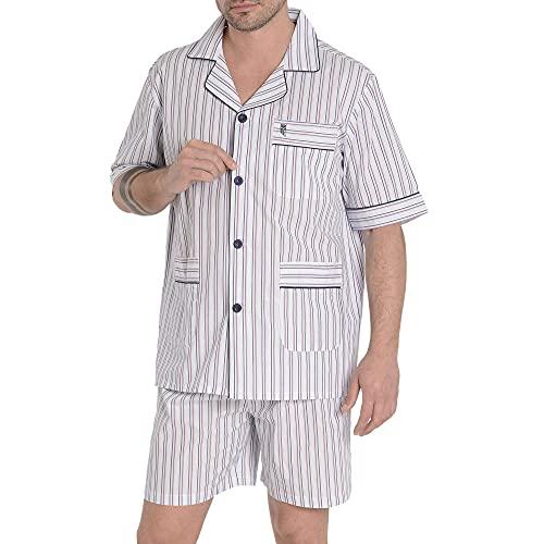 El Búho Nocturno - Pijama Hombre Corto Solapa Popelín Rayas Rojo 100% algodón Talla 3 (M)