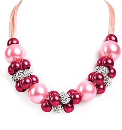 ALMBOCK Trachtenkette Damen pink - Perlen Dirndlkette Schmuck rosa - Trachtenkette Damen Perlen für Oktoberfest