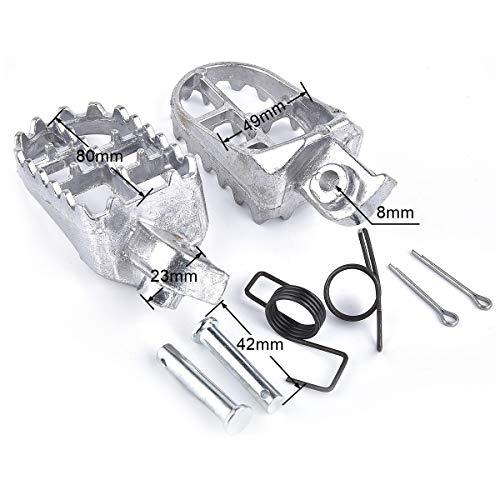 Aluminium Footpegs Foot Pegs Footrest Foot Rest Dirt bike 50 70 90 110 125cc Taotao PW50 PW80 TW200 XR50R CRF50 CRF70 CRF80 CRF100F Silver