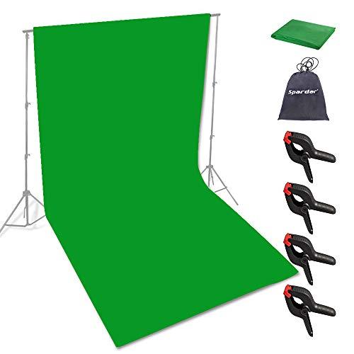 Spardar Baumwolle Greenscreen, 3M X 4.5M Foto Hintergrund Greenscreen Stoff 100% Baumwolle Faltbare Green Screen Fotostudio Hintergrund für Fotografie Video Hintergrundsystem Modefotografie