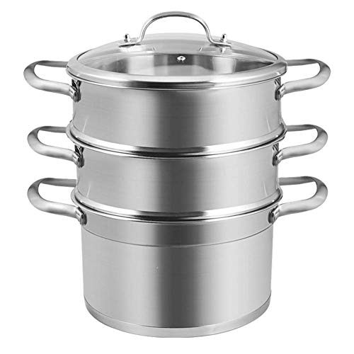 NAFE food Steamer, Steamer, roestvrij staal 3 laag dikke huishoudelijke stomer 2 laag 28CM stoomboot, gestoomde groenten, gestoomde vis, gestoomde broodjes
