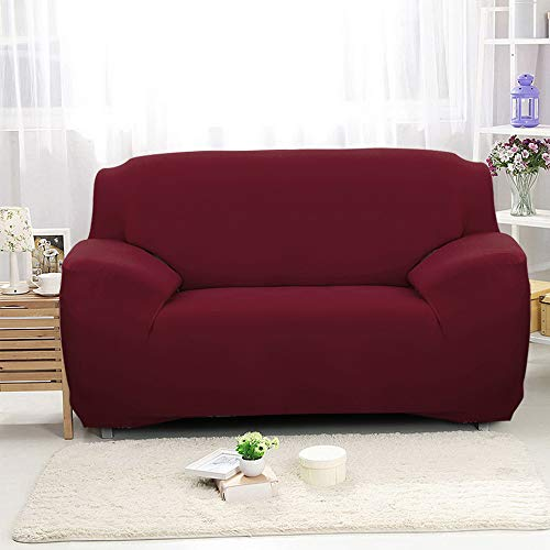 NIBESSER Sofabezug elastische Stretch Sofaüberwurf Sofa Couch Sessel Husse Bezug Decke Sofabezüge 1/2/ 3/4 Sitzer (2-Sitzer, weinrot)