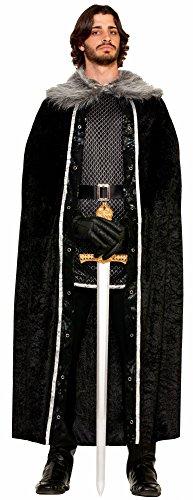 Forum Novelties Men's Medieval Fantasy Faux Fur Trimmed Cape, Black, One Size
