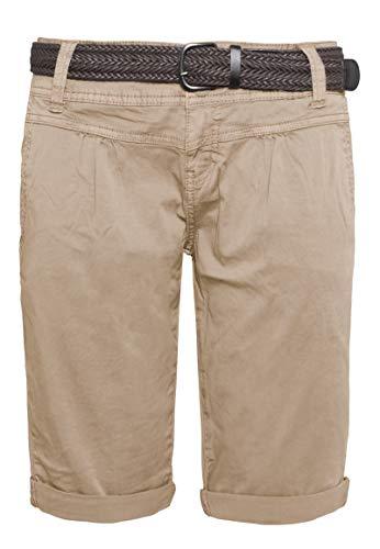 Fresh Made Basic Bermuda-Shorts im Chino Stil mit Gürtel Light-Brown M