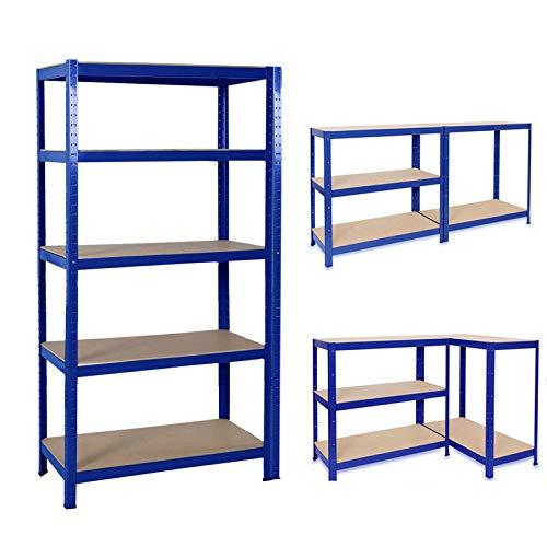 Schwerlastregal Lagerregal 5 Böden Metallregal Kellerregal Steckregal 875 kg belastbar Regal Werkstattregal Werkbank Garagenregal (Blau, 170x75x30cm)