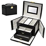 Euclidean Cube Jewelry Box for Women - Girls Jewelry Box Necklace Earring Rings Jewelry Organizer Lockable Jewelry Box Medium Leather Jewelry Box Organizer for Travel Gift (Black)