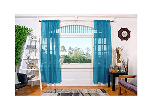 """All American Collection Doli Sheer Curtains Two 108"""" x 84"""" Panels (Turquoise)"""