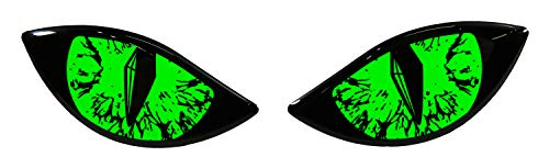 Bike Label 910062VA Aufkleber 3D Böse Augen Auto Motorrad Helm - Neon grün