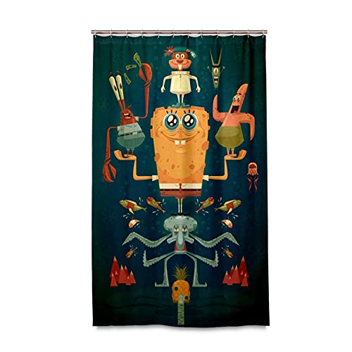 HZVBENGFTZ Spongebob Vector Cartoons Shower Curtain with Hooks - 48x72 Inch Water Resistant Standard Shower Bath Curtain for Bathroom, Shower, Bathtub Curtain Sets with 12 Hooks