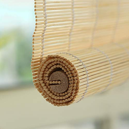 ZLI Pergola Bamboo Blinds, Customizable Blackout Roller Shades Patio Balcony Garden - 60/80/90/100/120/140 cm Wide, Wood Color (Size : W 100×H 160cm)