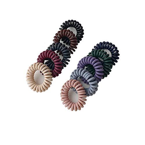 10 Uds, Lazos para el cabello en espiral, bandas elásticas de plástico para el cabello, soporte para cola de caballo, cordón de teléfono para mujer y niña, accesorios para el cabello con cuerda