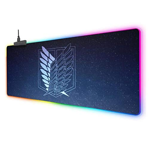 Mouse Pads Attack On Titan Led Gaming Mouse Pad XL Glowing Colorful Mouse Mat for Mice Computer Keyboard with Non Slip Rubber Mat B 11.823.6inch