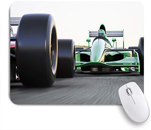 Dekoratives Gaming-Mauspad,Motorisierte Sportthema Indy Cars auf Asphaltstraße mit Motion Blur Formula Race,Bürocomputer-Mausmatte mit rutschfester Gummibasis