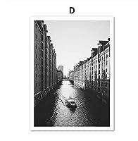ヴェネツィアウォーターシティボートビルディングウォールアートキャンバス絵画ブラックホワイト北欧ポスターとプリント壁の写真リビングルーム40×60フレームなし