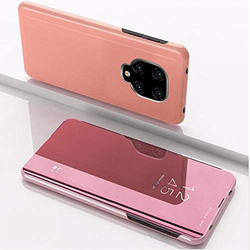 GUODONG Funda de teléfono para Xiaomi Redmi Note9 Pro/Note9 Pro Max/Note 9S/Note9 chapado en espejo horizontal Flip Funda de piel con soporte para Smartphone (color: oro rosa)