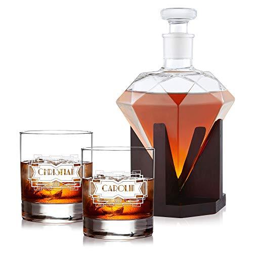 AMAVEL Whiskyset mit Diamantkaraffe und 2 Whiskygläser mit Diamant-Gravur, Personalisiert mit Namen und Jahreszahlen, Whiskey Dekanter 1000 ml