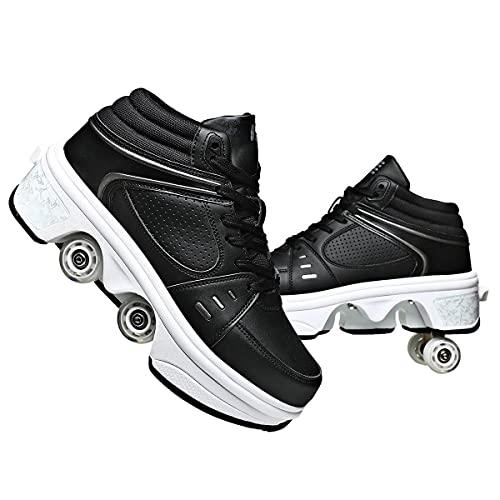 KANGSHENG Automática De Skate Zapatillas Unisex Negro con Ruedas Doble Rodillo Zapatos De Skate Zapatos Invisible De Polea De Zapatos De Doble Propósito para Niños/Niñas/Mujer,37