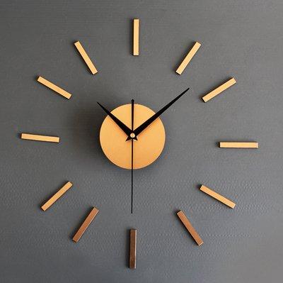 Silencioso reloj nórdico colgante moderno creativo tridimensional combinación reloj autoadhesivo personalidad simple salón reloj de pared 35,56 cm dorado