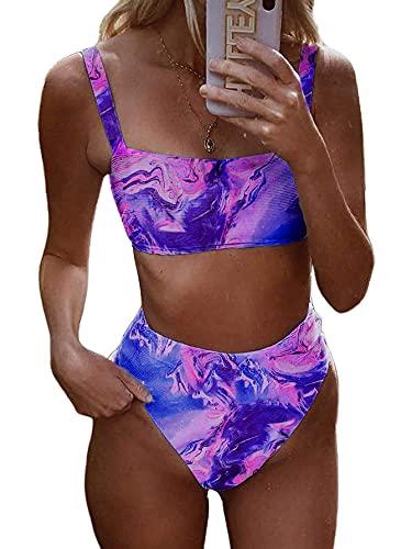 Sofia's Choice Damen Bikini, hohe Taille, zweiteilig, strukturiert, gerippt, Badeanzug - Violett - X-Large