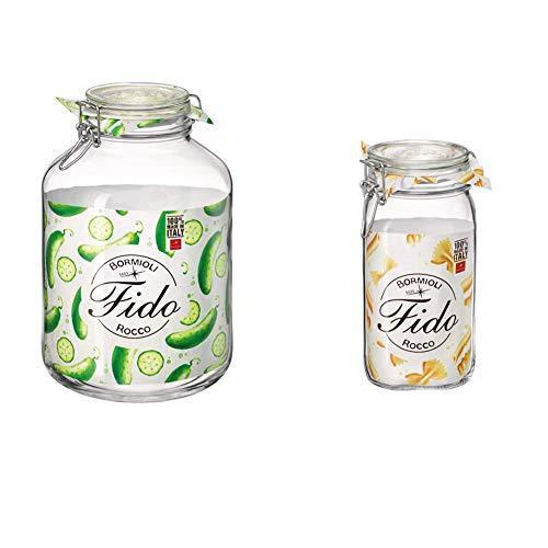 Bormioli Rocco Fido Barattolo di vetro a chiusura ermetica, 5 litri, Trasparente & Fido Vasetto