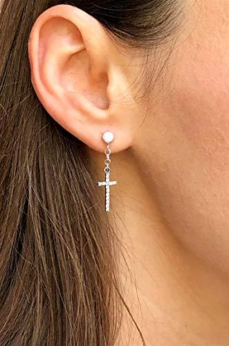 Sterling Silver Dangle cross earring - Single earring with CZ diamonds