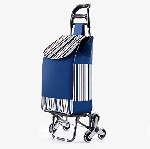Shopping Trolley Shopping Trolley mit Quiet Gummi Tri Räder Stepper Grocery Mehrzweckwagen mit Radlager Plattform for Basket Loading (Color : Blue)