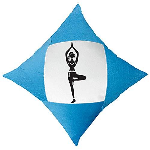 cold master DIY lab Yoga Girl Se Garder Silhouette décoration de Coussin Blue Cas Couvrir