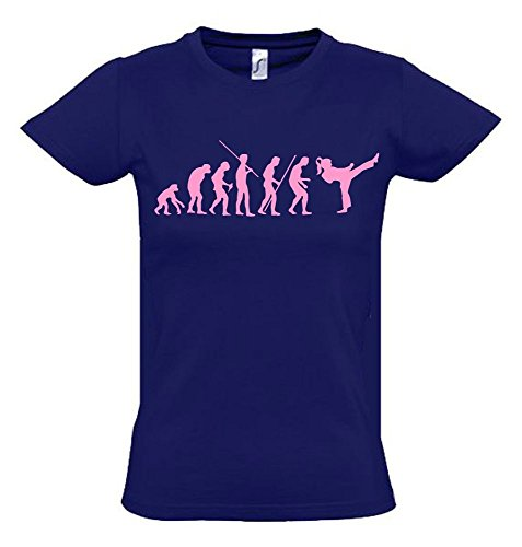 Mädchen Karate KICKBOXEN Evolution Kinder T-SHIRT navy-pink, Gr.140cm