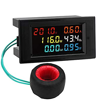 AC Display Meter, DROK 80-300V 100A Voltage Current Power Factor Frequency Electric Energy Monitor Ammeter Voltmeter Multimeter Tester 110V 220V Digital Color LCD Volt Amp Watt Detector Reader Panel