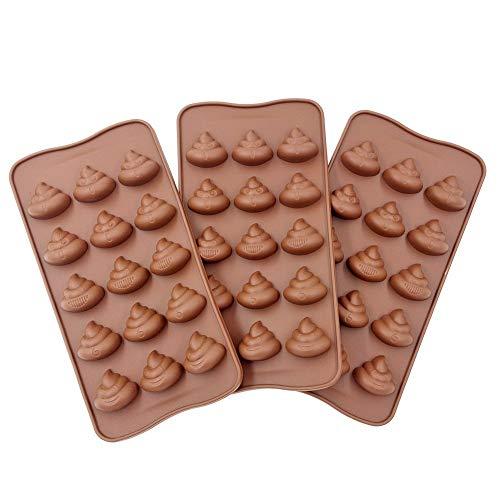 Manshu 3 süße lustige Kot-Emoji-Formen Schokoladenform Silikonform Seife Formen Lächeln Hocker Eiswürfel Süßigkeiten Dessert Form Kaffee (Kot)