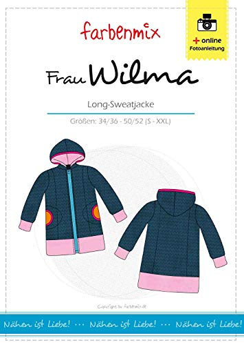 Farbenmix Frau Wilma Schnittmuster (Papierschnittmuster in den Größen 34/36-50/52) Long Sweatjacke