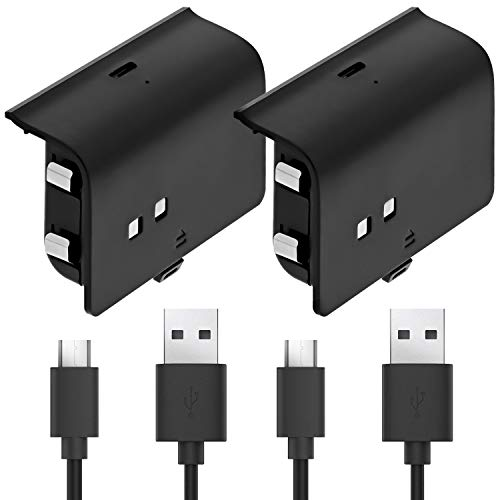 Fosmon Rechargeable Battery Pack Compatible with Xbox One/One X/One S Elite (Not for Xbox Series X/S 2020) Controller (2 Pack), Works with Fosmon Dock C-10659 / C-10709 / C-10738 / C-10751 - Black