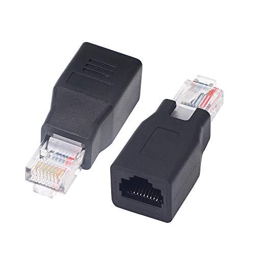 Conector de extensión de red RJ45, Adaptador extensor de red Ethernet LAN RJ45 macho a hembra Cat 5, KANGPING ,para computadoras, conmutadores, enrutadores (2-pack)
