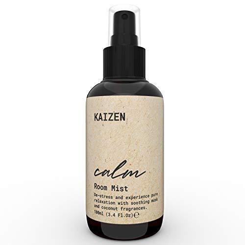 KAIZEN Spray Ambiente Rilassante, con Olio Muschio Bianco e Olio di Cocco - Profumi per Ambiente, Ideale anche come Pillow Spray per Dormire - Spray Cuscino Antistress - Profumo Ambiente spray, 100ml