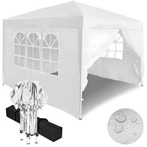 Aufun Faltpavillon Faltzelt 3x3m UV-Schutz - gartenpavillon 4 Seitenteile Wasserdicht - für Garten/Party/Hochzeit/Picknick, Weiß