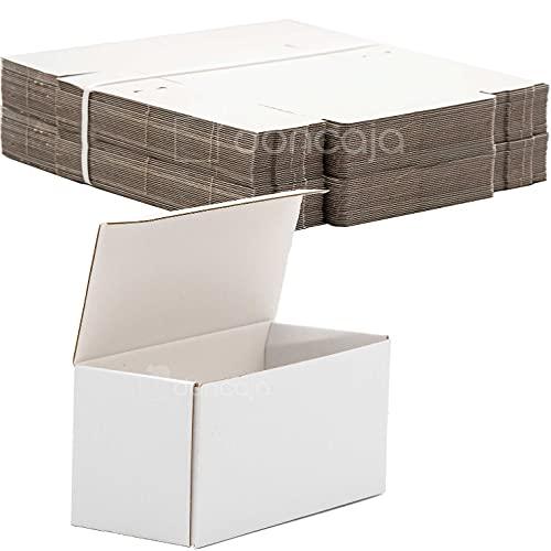 Pack cajas 19,5 x 9 x 8 cm | cartón pequeñas, para envíos ecommerce automontables kraft, paqueteria, almacenaje , packaging, regalos, envio postal, Ideal ecomerce (Pack 50, Blanco)