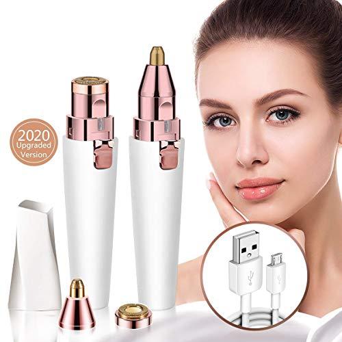 Augenbrauen Rasier USB, 2 in1 Gesichtshaarentferner Damen, sicherer & sanfter Damenrasierer mit eingebautem LED-Licht. mit USB-Ladekabel & Bürste.