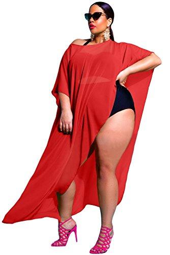Prime Leader Sea Blue Draped Plus Size Cover-up -  Rojo -  Talla Única