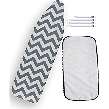 Ironing Board Cover Bundle 3 Items: 1 U.S. Standard Size, Extra Thick Felt Pad, Heat Resistant, and Scorch Resistant Cover Chevron Style, 4 Fasteners and 1 Large Protective Scorch Mesh Cloth