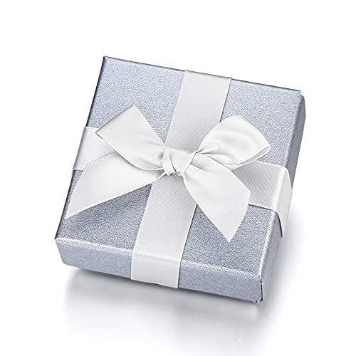 Caja de regalo gris, elegante joyería embalaje anillo pulsera collar 7 * 7 * 3,5 cm