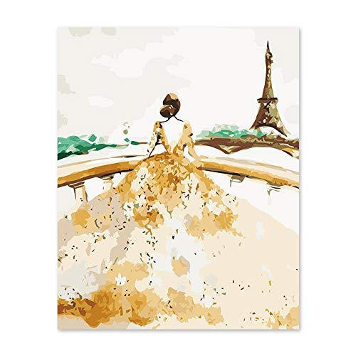 Alesx Digitale schilderij zonder lijst, schilderen op nummer, kunst, schilderen, op nummer, bruidsjurken, in Parijs, Ragen romantisch hoog