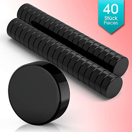 40 Premium Mini Magnete Schwarz   Neodym Magnet Schwarz - Rund - Klein   6 x 3mm